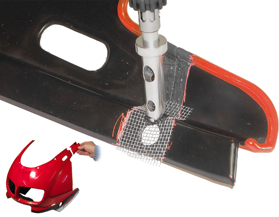 reparaturschweissen kunststoff reparieren mit dem schwei kolben orbi tech. Black Bedroom Furniture Sets. Home Design Ideas