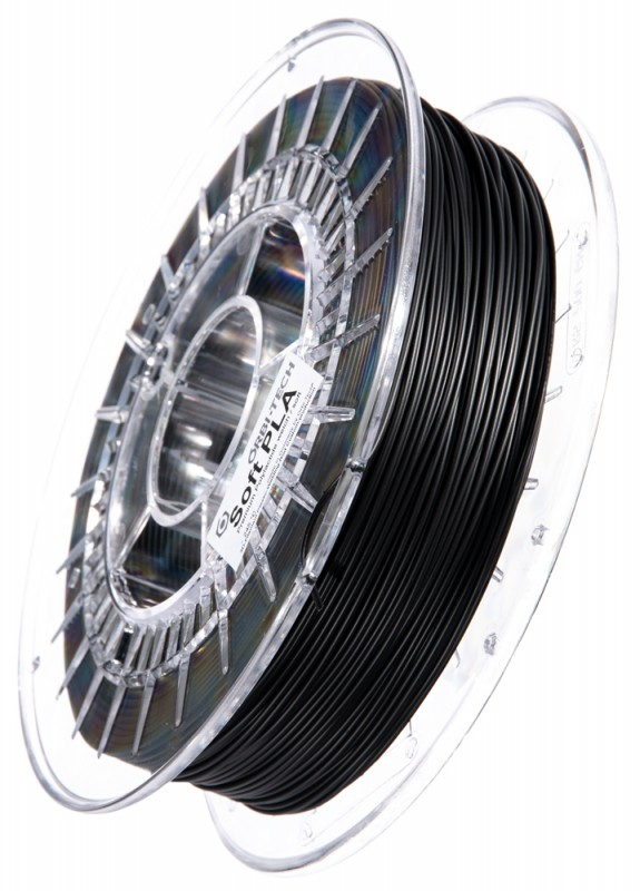 Soft PLA 3D Filament 1.75 mm, 750 g, Schwarz