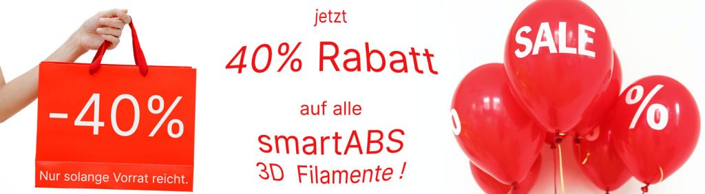 Jetzt 40% Rabatt auf alle smartABS 3D Filamente sicher.